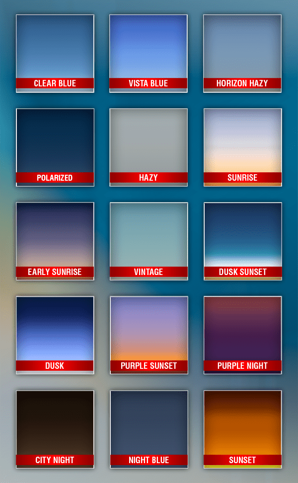 15 sky gradients from morning to night