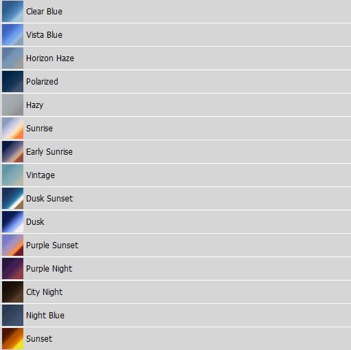 Screenshot of gradients in Photoshop