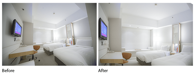 Before and after of the perspective and distortion corrections with the Adaptive Wide Angle filter