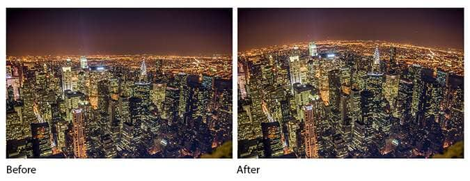 Before and after comparison of using the liquify tool to curve the horizon