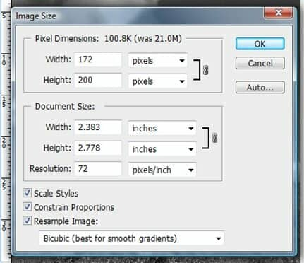 Image size tool