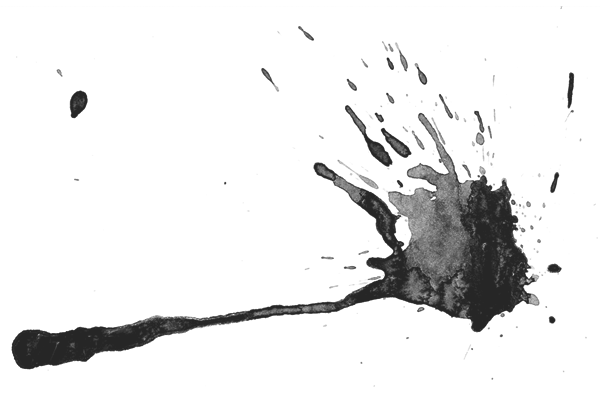Dried blood splatter with black ink