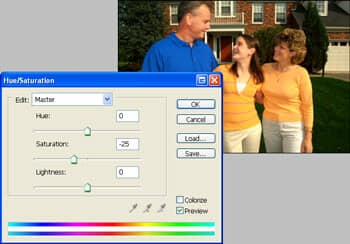 The Hue/Saturation tool