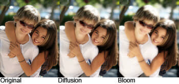 Comparison of the Diffusion and Bloom effect.