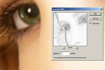Applying a Gaussian blur to the layer mask with the Find Edges filter applied.