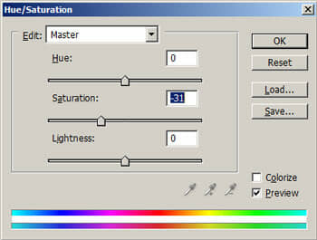 The Hue/Saturation tool.