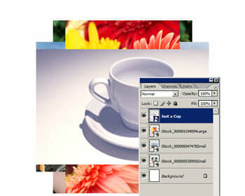 Four images placed. Each image appears in its own layer as a Smart Layer.