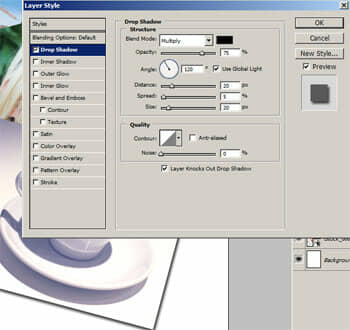 Adding a drop shadow layer style.
