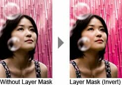 With and Without Layer Mask. Layer mask inverted.