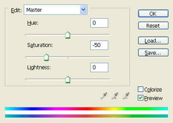 Reducing saturation with the Hue/Saturation adjustment layer.
