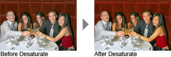 Before and after desaturate