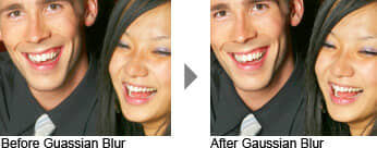 Before and after Gaussian Blur
