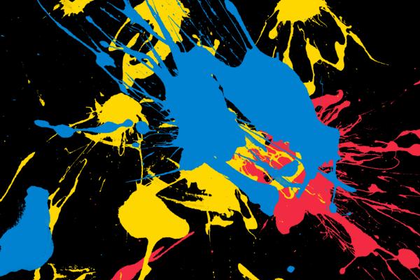 Combination of ink splatters