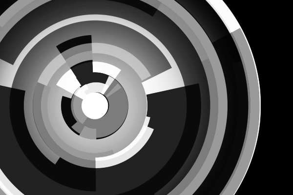 Combination of tech rings stacked together (B&W)
