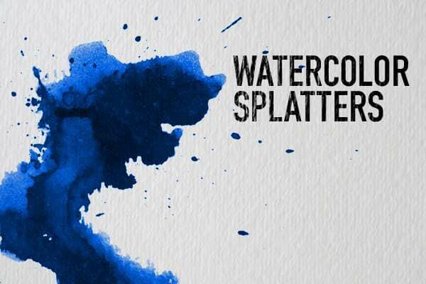 Watercolor splatter on watercolor paper