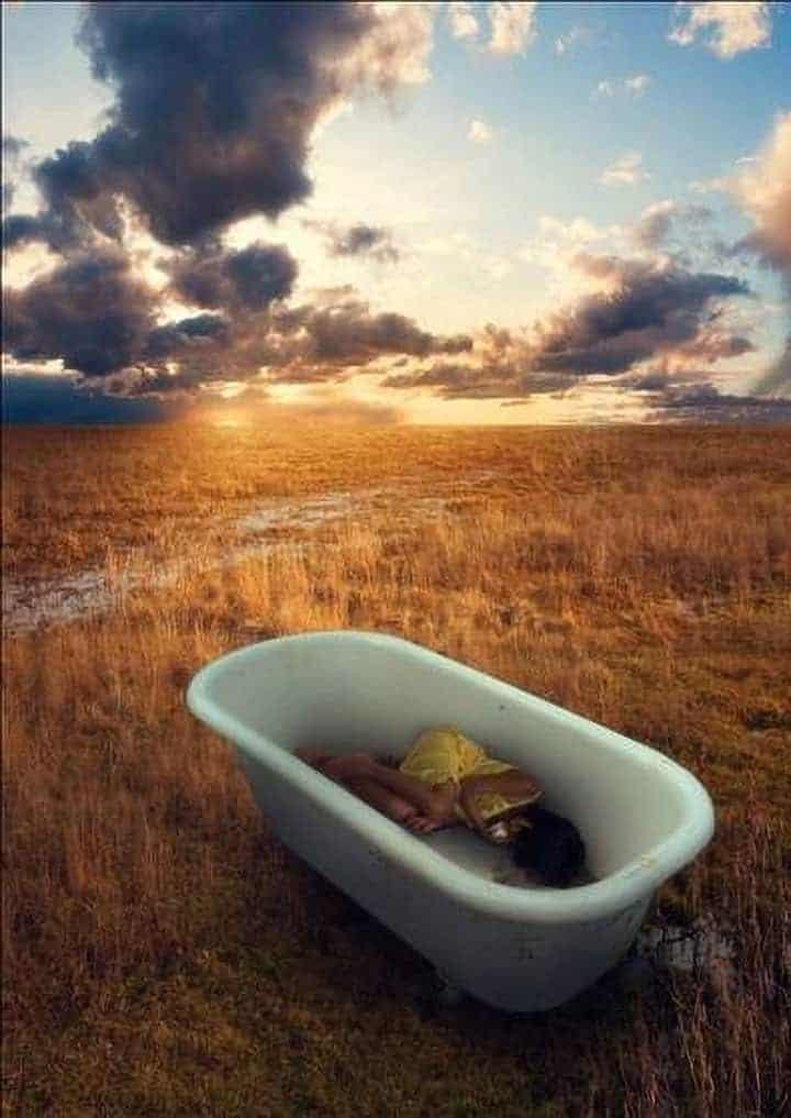 """Sleeping Girl in Tub"" Photo Manipulation"