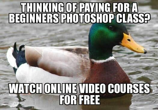 Thinking of paying for a beginners Photoshop class? Watch online video courses for free.