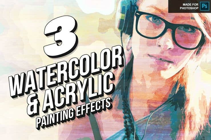 Free Download: 3 Awesome Actions to Create Watercolor and Acrylic Painting Effects