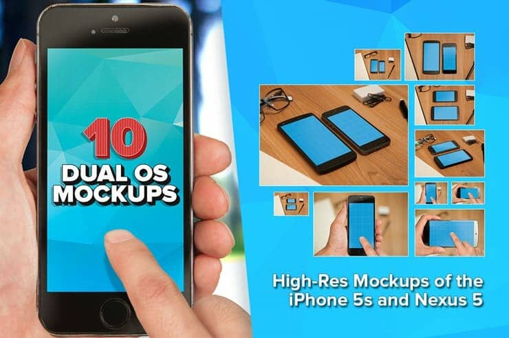 Free Download: Three iPhone 5s and Nexus 5 PSD Mockups