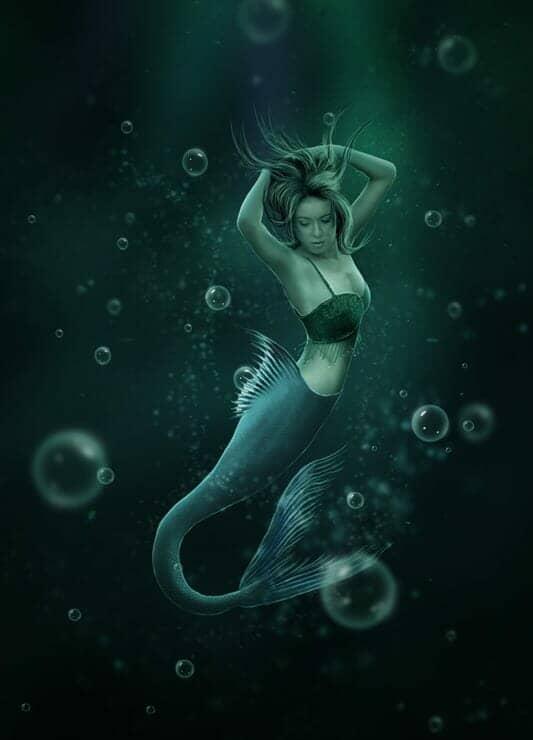 Create an Underwater Scene of a Mermaid