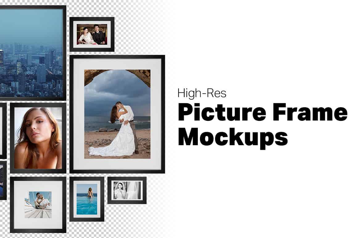 5 Picture Frame Mockups for Photoshop