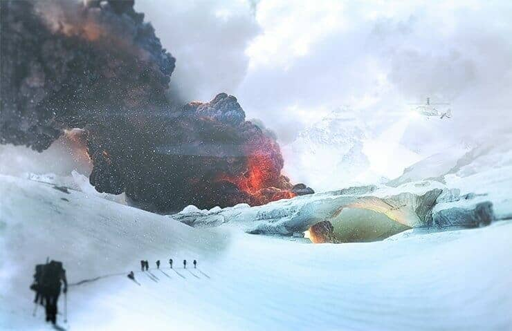 How to Create a Cinematic Snowy Mountain Crash Site Scene in Photoshop