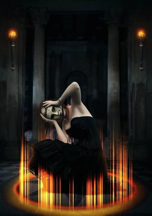 Create a Dark Spiritual Ritual Scene of a Girl in Photoshop