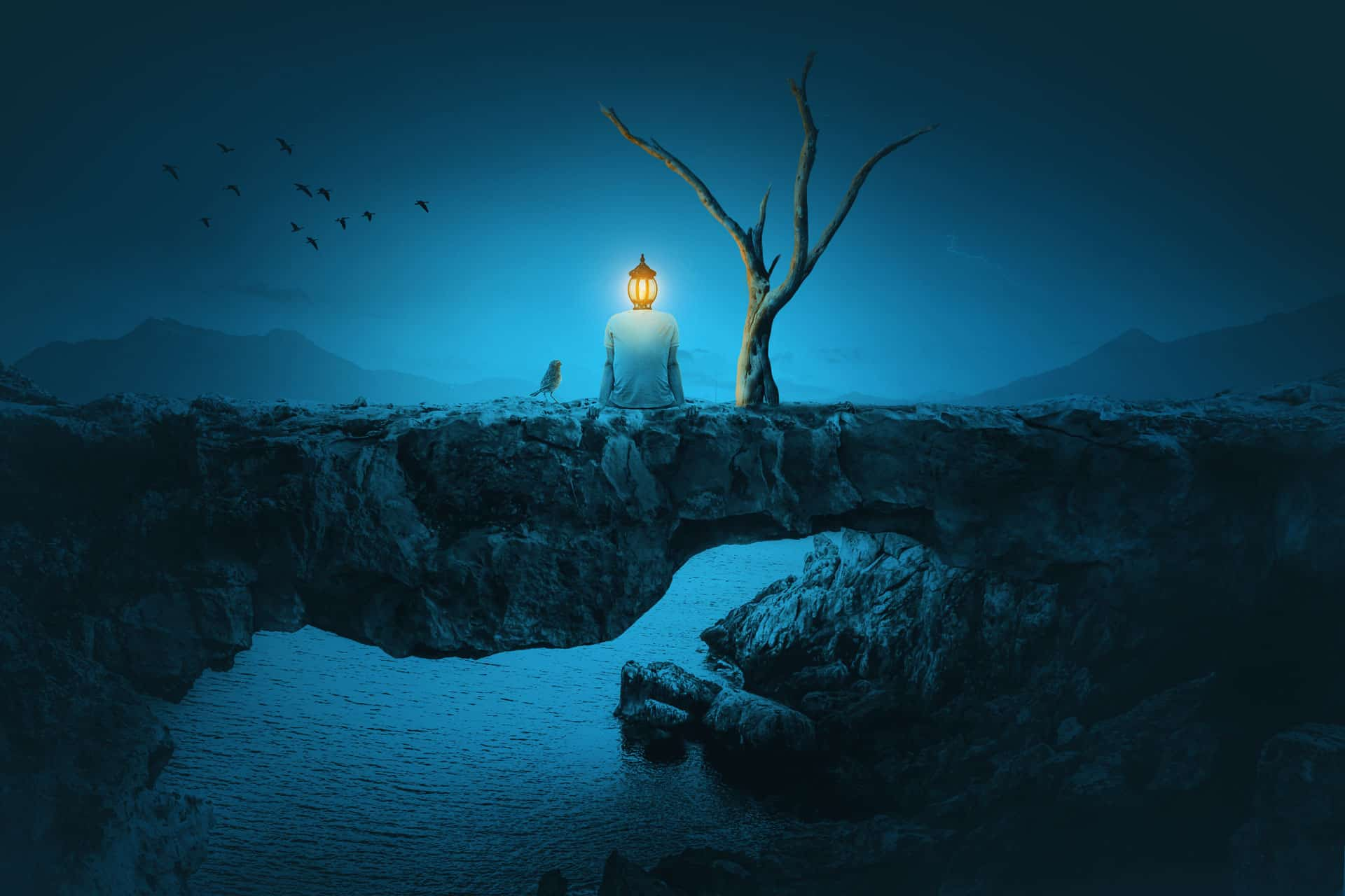 How to Create a Surreal Photo Manipulation of a Man with Head of Lamp