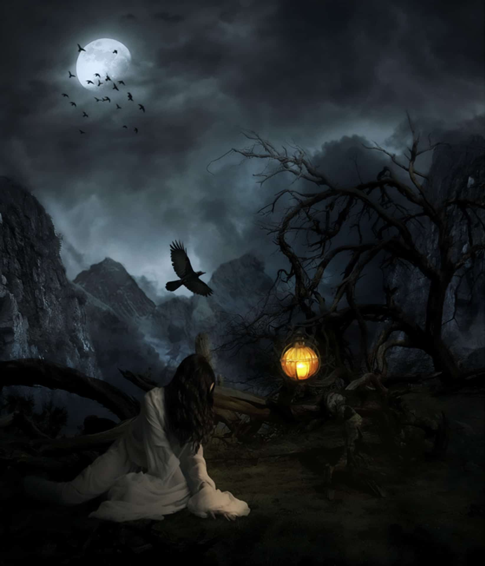 Creepy Lady on a Dark Mountain - Learn How to Create This Composite in Photoshop