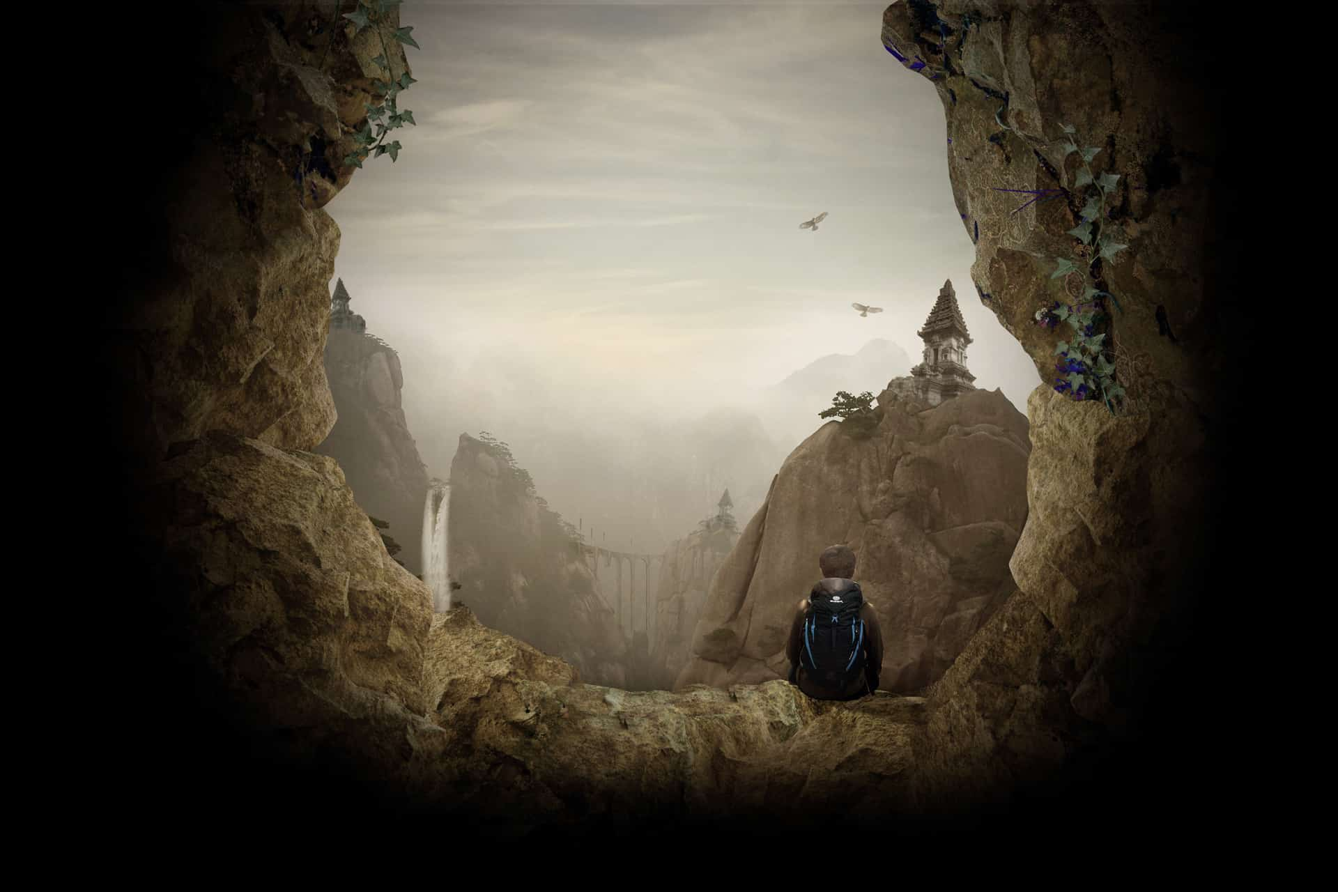 Create an Otherworldly Scene of a Climber in a Cave in Photoshop