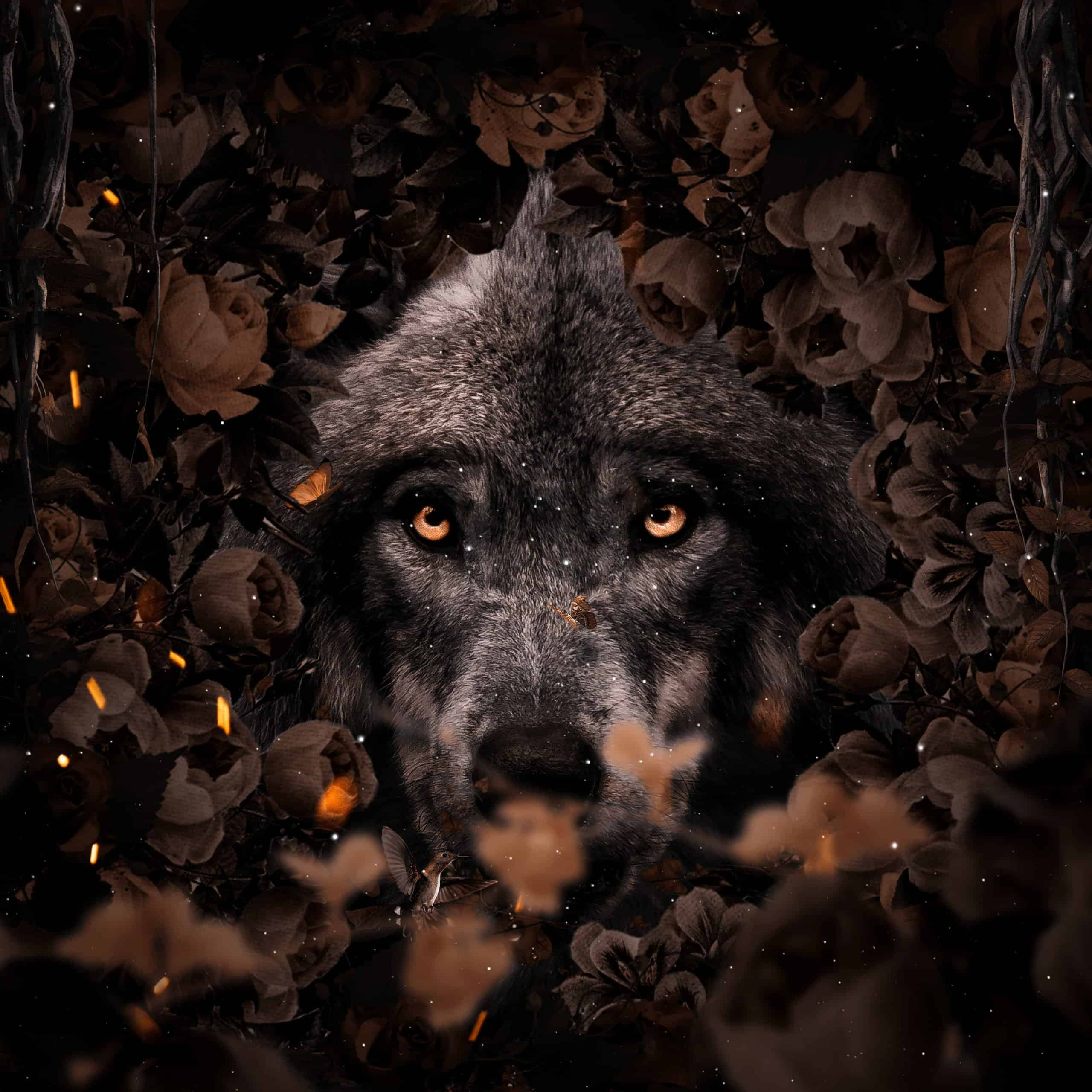 Create a nature scene of Wolf in flowers Photoshop Tutorial