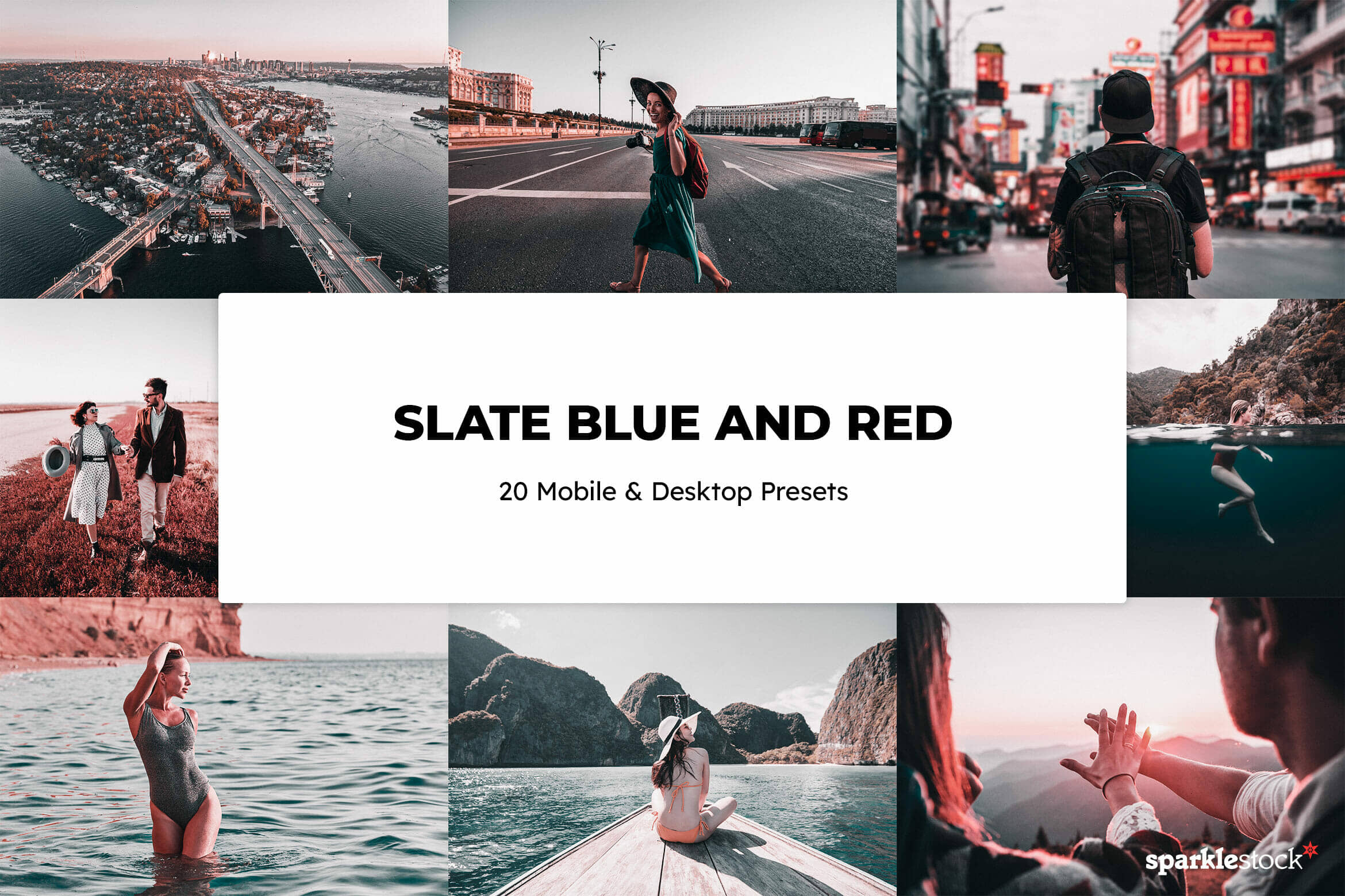 8 Free Slate Blue and Red Lightroom Presets and LUTs